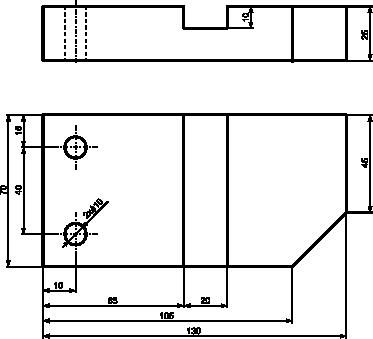 Przykład rysunku technicznego wymagającego użycia dwóch rzutów prostokątnych.