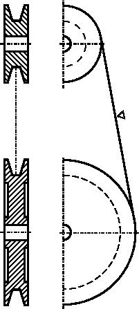 Rysunek uproszczony przekładni pasowej