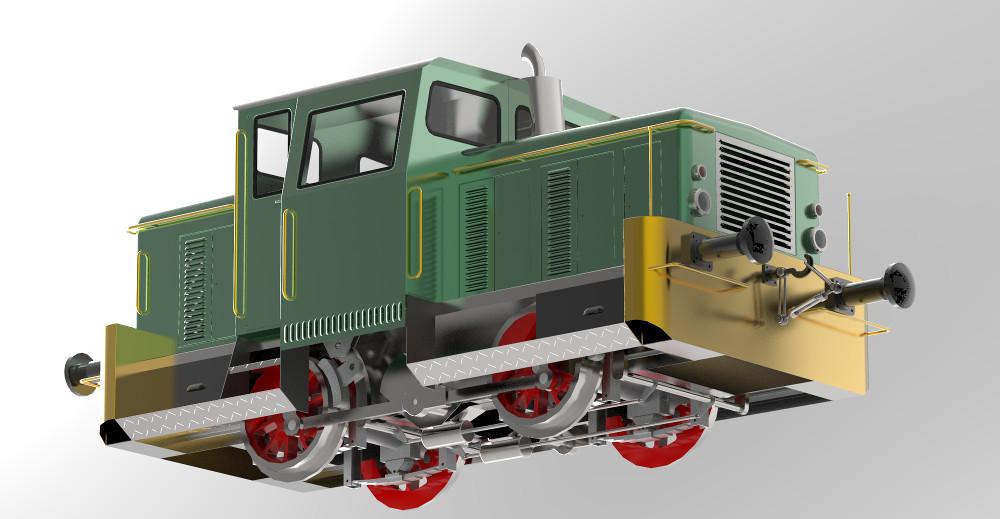 Render lokomotywy spalinowej SM03, której komponenty karoserii utworzone zostały z wykorzystaniem operacji Żaluzja