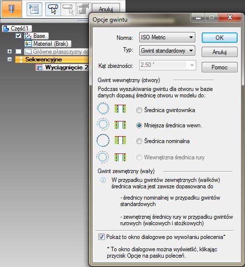 Solid Edge okno dialogowe Opcje gwintu
