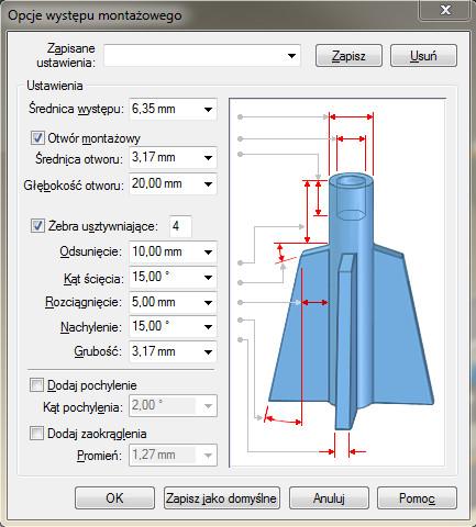 Solid Edge okno dialogowe Opcje występu montażowego