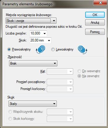 Solid Edge okno dialogowe Parametry elementu śrubowego