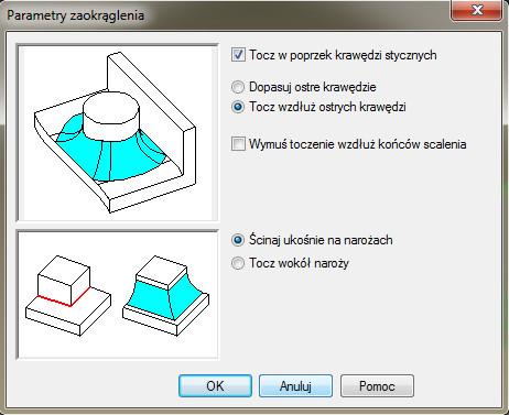 Solid Edge - okno dialogowe Parametry zaokrąglenia