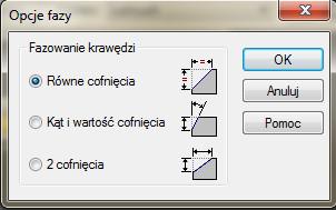 Solid Edge - okno dialogowe Opcje fazy
