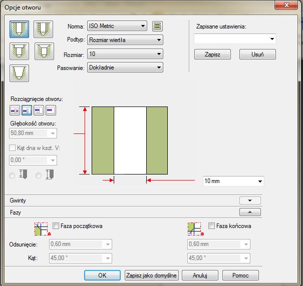 Solid Edge opcje związane z tworzeniem otworu walcowego