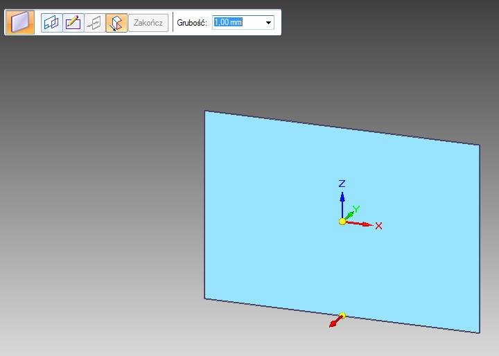 Solid Edge - operacja Arkusz blachy - tryb wskazania strony wyciągnięcia i grubości blachy