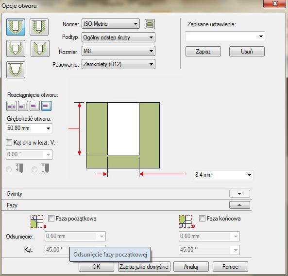 Solid Edge - okno opcji otworu walcowego wykonywanego na określoną głębokość