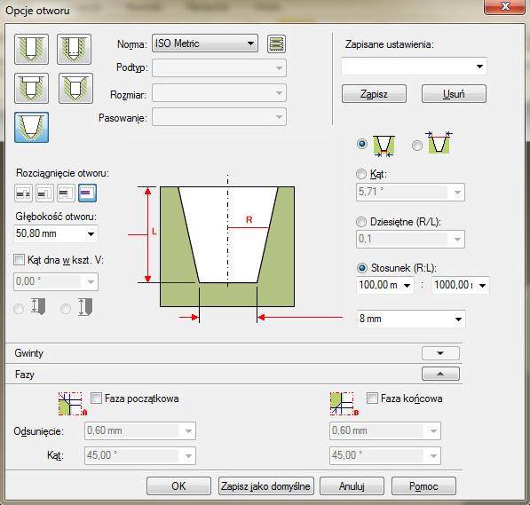 Solid Edge - okno operacji otworu dla trybu otworu wpuszczanego pod śrubę z łbem walcowym