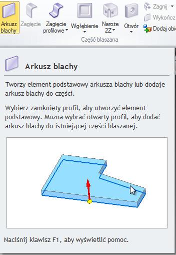 Solid Edge - przycisk operacji arkusza blachy
