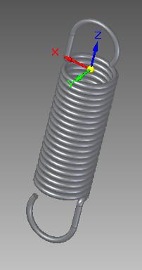 Solid Edge - przykład utworzonej sprężyny narysowanej przy wykorzystaniu narzędzia wyciągnięcie śrubowe