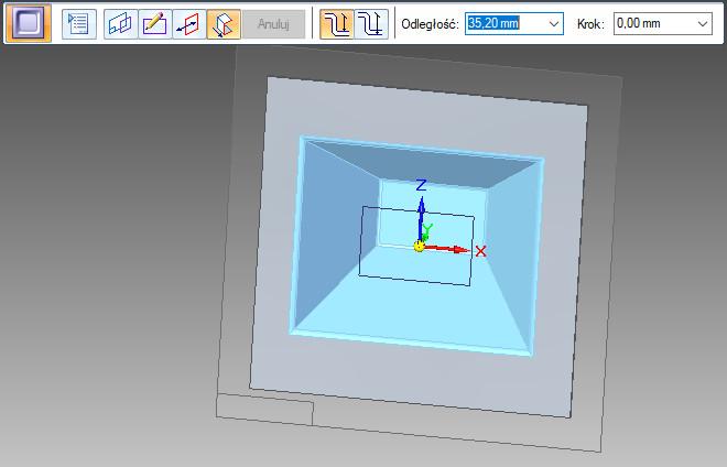 Solid Edge - wgłębienie wysokość wgłębienia