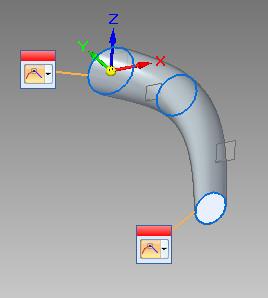 Solid Edge - wyciągnięcie przez przekroje (efekt końcowy)