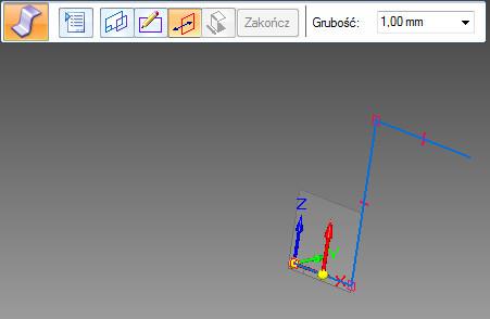 Solid Edge - zagięcie profilowe - krok strona i grubość blachy