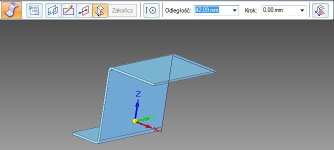 Solid Edge - zagięcie profilowe - krok wyciągnięcia