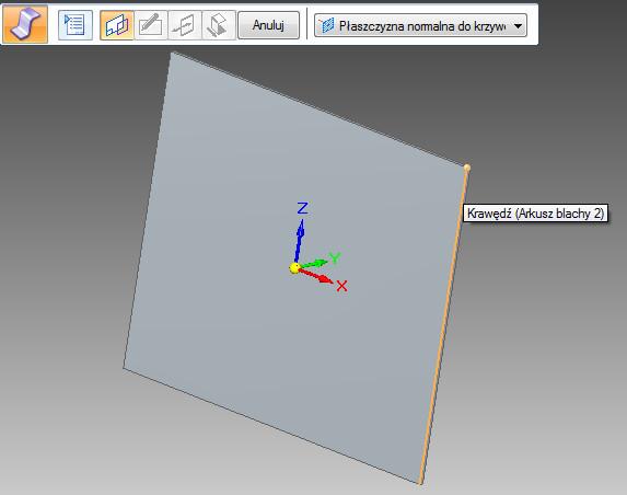Solid Edge zagięcie profilowe na istniejącym arkuszu blachy - tryb wskazania krawędzi