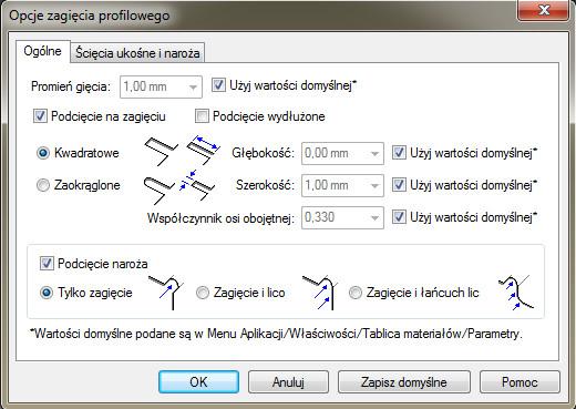 Solid Edge - okno dialogowe Opcje zagięcia profilowego - zakładka Ogólne