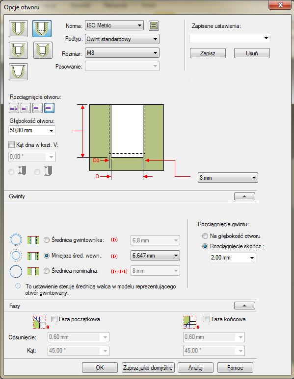 Solid Edge - okno opcji otworu dla trybu otworu gwintowanego