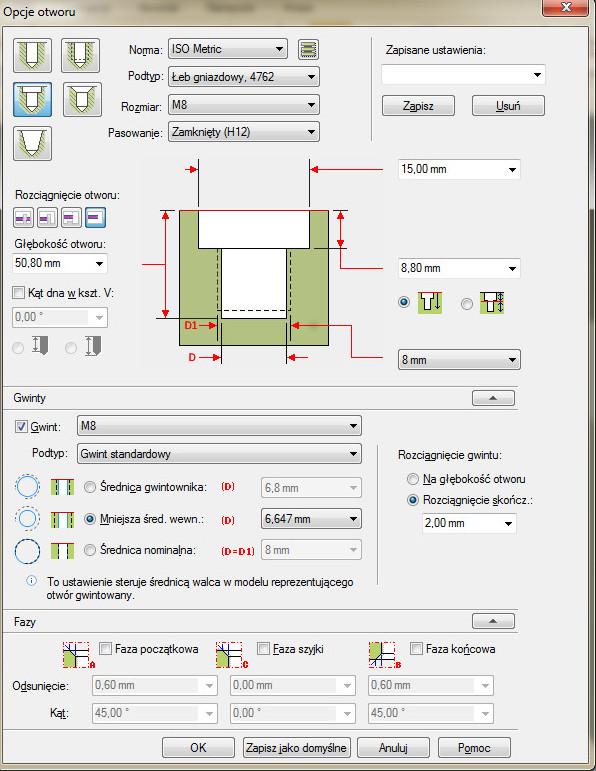 Solid Edge - okno opcji otworu dla trybu otworu wpuszczanego pod śrubę z łbem walcowym