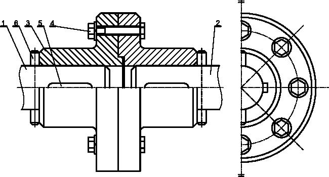 Przykład sprzęgła kołnierzowego bez osłonowego