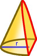 Ścięcie stożka płaszczyzną pod kątem mierzonym względem osi symetrii większym niż połowa kąta jego rozwarcia α