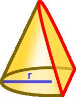 Ścięcie stożka płaszczyzną pod kątem mierzonym względem osi symetrii równym połowie kąta jego rozwarcia α