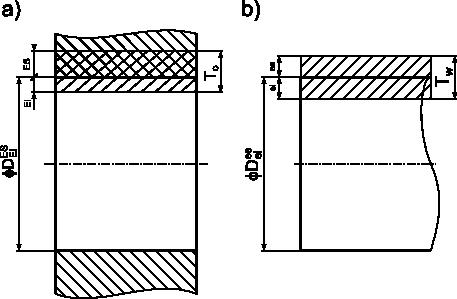 Graficzna interpretacja pojęcia odchyłek, tolerancji <b>T</b> i wymiaru nominalnego <b>D</b> dla: <b>a)</b> otworu, gdzie odchyłki są oznaczane umownie dużymi literami (dolna <b>EI</b>, górna <b>ES</b>); <b>b)</b> wałka, gdzie odchyłki są oznaczone umownie małymi literami (dolna <b>ei</b> zaś górna <b>es</b>).