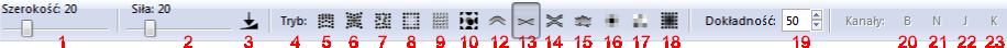 Pasek narzędziowy trybu edytowania węzłów
