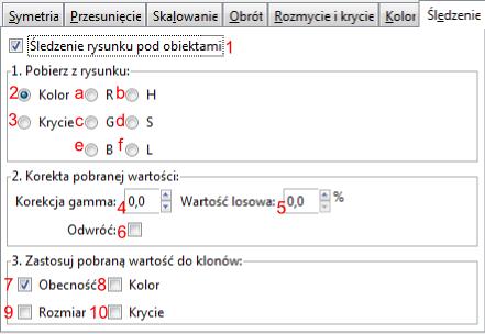 Widok zakładki Śledzenie okna Utwórz układ klonów w programie Inscape