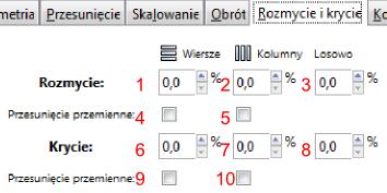 Widok zakładki Rozmycie i krycie okna Utwórz układ klonów w programie Inscape
