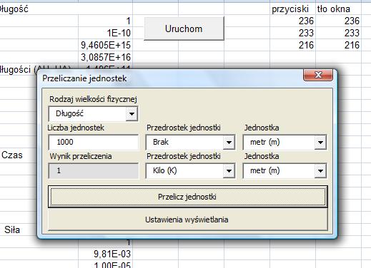 Ilustracja prostego programu napisanego w VBA pod Exelem, którego jedynym celem jest przeliczanie jednostek różnych wielkości fizycznych