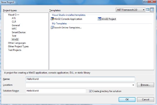 Visual Studio Express Edition 2008 okno nowego projektu