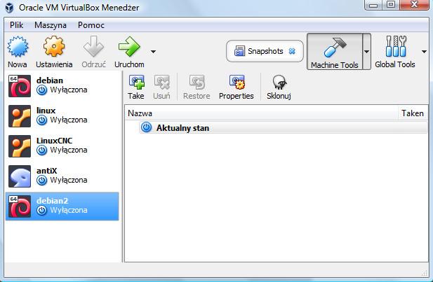 Widok okna programu VirtualBox