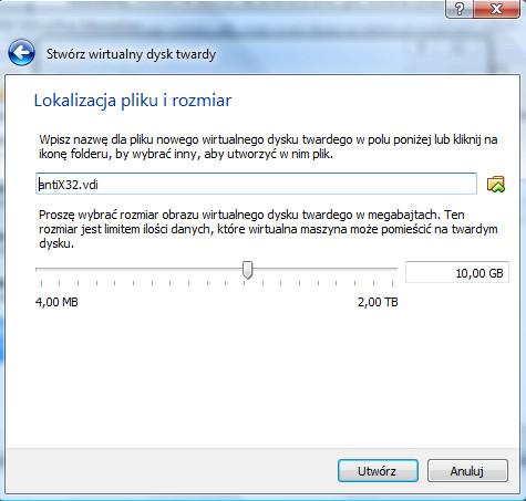 VirtualBox - okno dialogowe Stwórz wirtualny dysk twardy - tryb ustawienia Lokalizacji pliku i rozmiaru