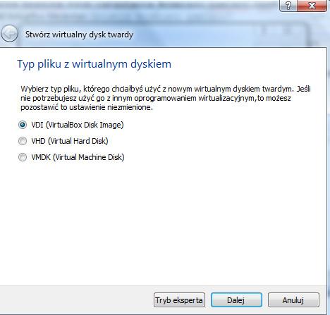 VirtualBox - okno dialogowe Stwórz wirtualny dysk twardy - tryb wyboru pliku z wirtualnym dyskiem