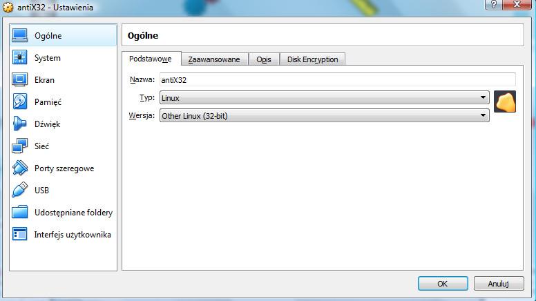 VirtualBox - okno dialogowe ustawień wirtualnej maszyny