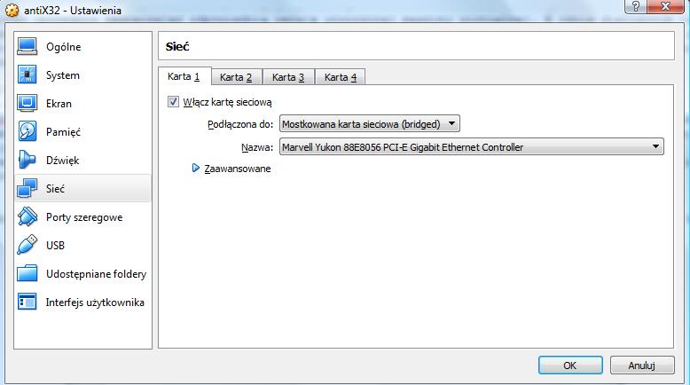 VirtualBox - okno dialogowe Ustawienia - zakładka Sieć
