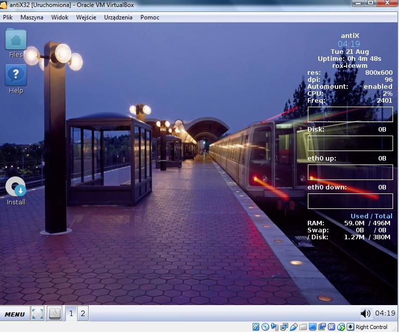 VirtualBox - system antiX w trybie umożliwiającym instalację z pliku ISO