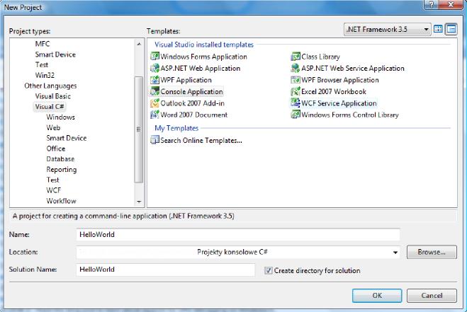 Visual Studio EE - okno nowego projektu
