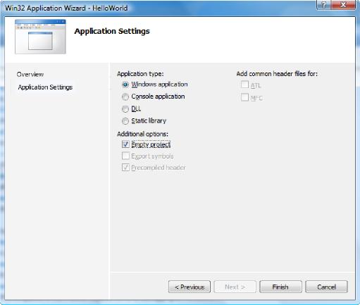 Okno Win32 Application Wizard HelloWorld