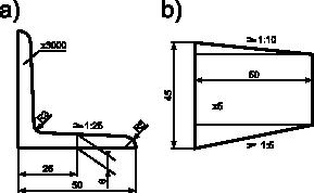 Przykład wymiarowania z zastosowaniem symbolu pochylenia powierzchni i długości/grubości obiektu wymiarowanego: <b>a)</b> wymiarowanie powierzchni jednostronnie pochylonej; <b>b)</b> wymiarowanie powierzchni dwustronnie pochylonej niesymetrycznie.