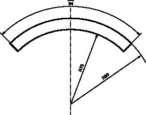 Przykład wymiarowania z użyciem symbolu długości łuku i symbolu promienia.