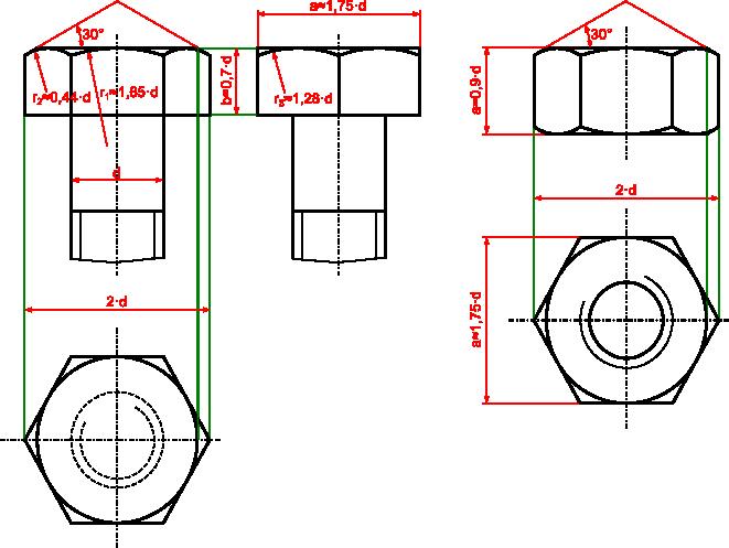 Rysunek szczegółowy śruby z łbem sześciokątnym i nakrętki wraz z wymiarami