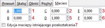 Zakładka Macierz okna Przekształć w programie Inkscape