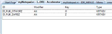 Widok okna edycji akceleratorów