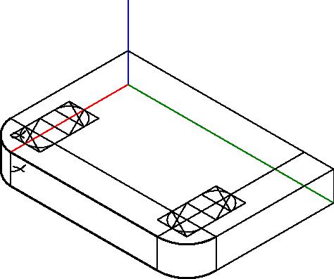 Tworzenie pomocniczej konstrukcji w celu wyznaczenia krawędzi otworów zakończonych półokręgami.