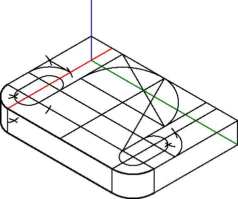 Tworzenie pomocniczej konstrukcji w celu wyznaczenia krawędzi przejścia ostatnich trzech łuków krawędzi płaszczyzny podstawy.