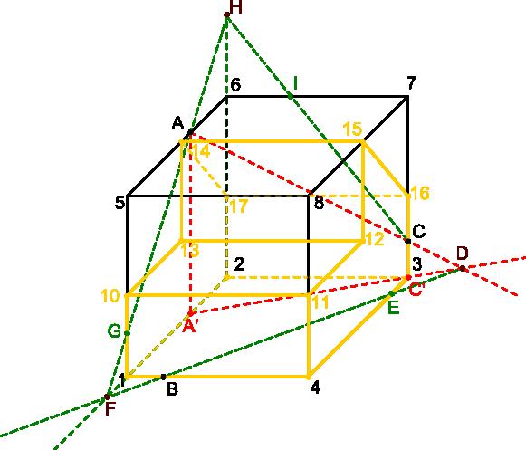 Kolejny etap rozwiązania zadania z aksonometrii.