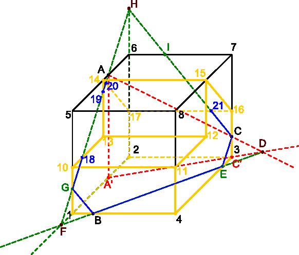 Rysunek z naniesionymi już liniami przecięcia bryły płaszczyzną <b>ABC</b>.