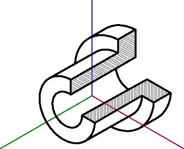 Przykład tulejki narysowanej w układzie izometrycznym.