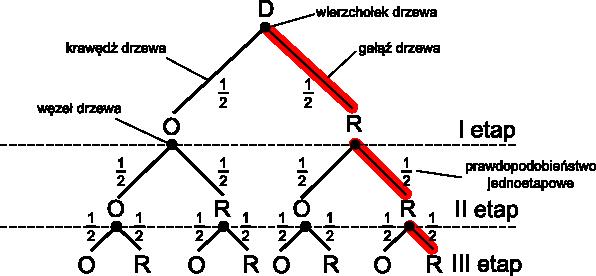 Przykład budowy drzewa stworzonego dla rozpatrywanego przykładu.